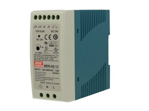 Alimentatore Rotaia Industriale MeanWell MDR-60-12 60W 12V 5A Barra Guida DIN Rail Single Power Supply Universale