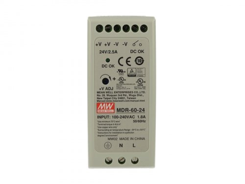 Alimentatore Rotaia Industriale MeanWell MDR-60-24 60W 24V 2,5A Barra Guida DIN Rail Single Power Supply Universale