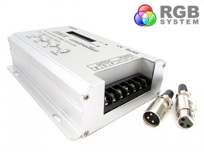 Centralina DMX-512 Decoder 4 Canali  + Controller RGB Per Luci Led 32A 12V 24V Con Display LCD