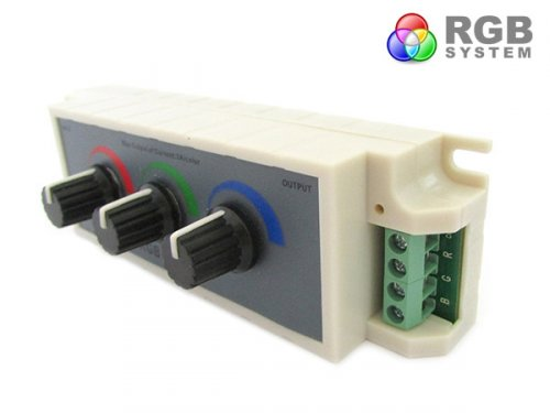 Centralina RGB Led Dimmer PWM Controller Modulo Manuale Con Manopole 12V 24V 3X3A Per Strip Led RGB