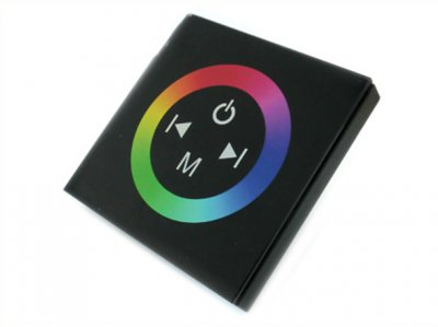 Centralina RGB Led Kit Controller Touch Panel Full Color Da Incasso Quadrata 12V 144W Sfondo Nero TM08