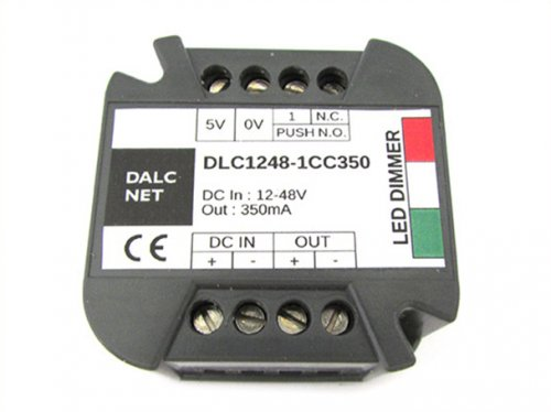 Dalcnet Easy Led Fader Dimmer Driver DC 12V-48V CC 350mA Dimmerabile Con Pulsante N.O. DLC1248-1CC350