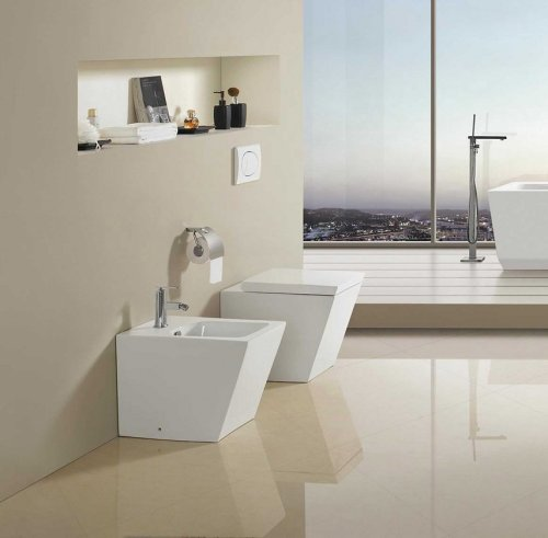 Sanitari bagno a terra wc, bidet copriwater soft close SQUARE