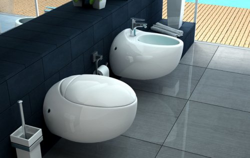 Sanitari sospeso di design, vaso e bidet con copri water soft close NUVOLA